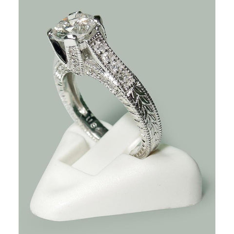 1.75 Ct Round Diamonds White Gold Solitaire With Accents Ring Solitaire Ring with Accents