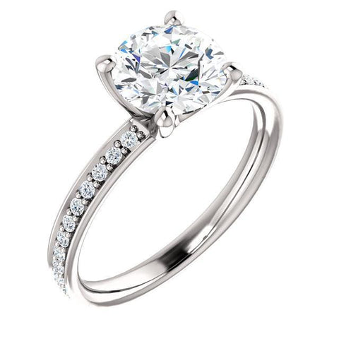 1.76 Carat Round Brilliant Diamonds White Gold 14K Solitaire With Accents Ring Solitaire Ring with Accents