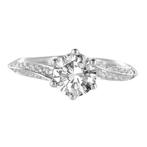 1.76 Carat Round Diamonds Solitaire With Accents Engagement Ring White Gold 14K Solitaire Ring with Accents