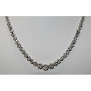 18 Ct Natural Diamonds Round Cut Ladies Necklace White Gold 14K Necklace