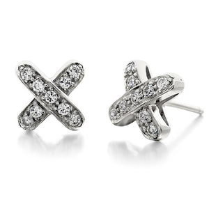 1.8 Ct Round Diamond Cross Stud Earring 14K White Gold Stud Earrings