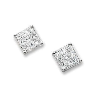 1.80 Carats Princess Diamond Stud Earring 14K White Gold Stud Earrings