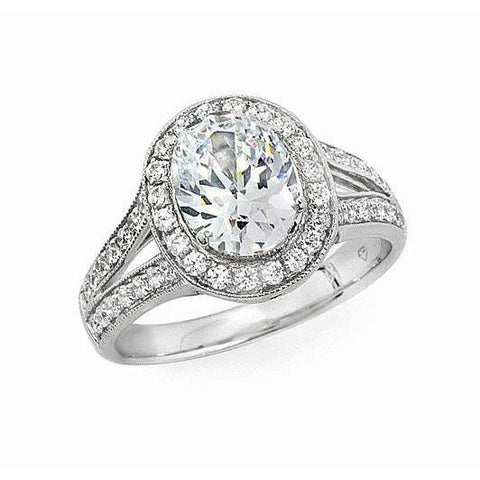 1.85 Carats Oval And Round Diamond Halo Engagement Ring White Gold 14K Halo Ring