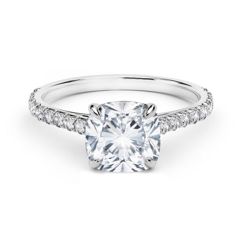 1.85 Carats Round Solitaire With Accents Diamond Ring White Gold 14K Solitaire Ring with Accents