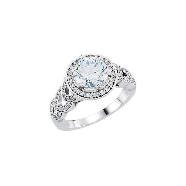 1.86 Ct. Round Diamonds Solitaire With Accents Ring Halo Halo Ring