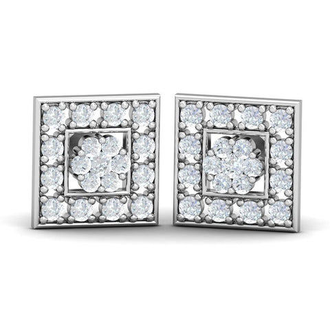 1.9 Ct Round Cut Diamond Stud Halo Earring White Gold Halo Stud Earrings