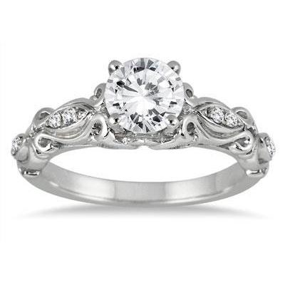 1.90 Carats Round Cut Diamonds Antique Style Ring White Gold 14K Engagement Ring