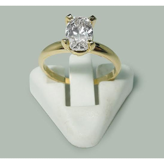 Solitaire Ring 1.51 Carat Oval Diamond Solitaire Ring Yellow Gold 14K