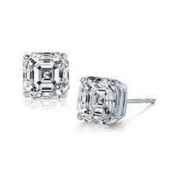 1 Carat Asscher Cut Diamond Stud Women Earring White Gold 14K