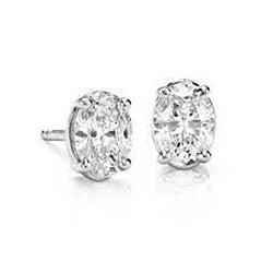 1 Carat Oval Cut Diamond Stud Earring 14K White Gold New