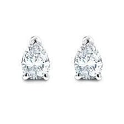 1 Carat Pear Cut Diamond Stud Earring 14K White Gold