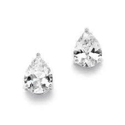1 Carat Pear Cut Solitaire Diamond Stud Earring 14K White Gold