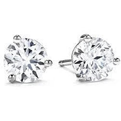 1 Carat Round Cut Solitaire Diamond Stud Earring 14K White Gold New