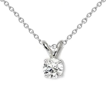 1 Carat Solitaire Round Diamond Necklace Pendant White Gold 14K