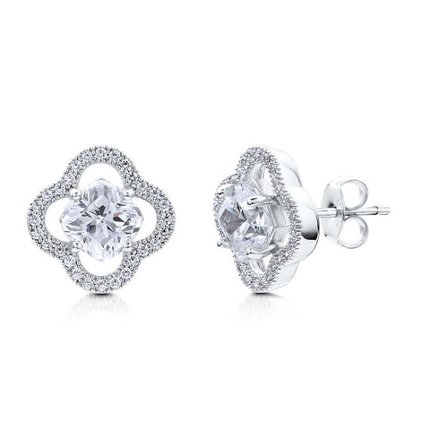 2 Carat Cushion And Round Halo Diamond Stud Earring White Gold 14K Halo Stud Earrings
