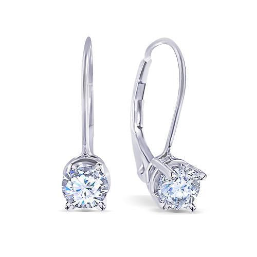 2 Carat Diamonds Earring Pair Leverback 14K White Gold Round Diamond Earring Leverback Earrings