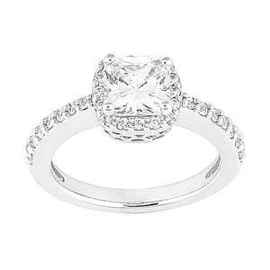2 Carat Halo Cushion Center Diamond Pave Diamond Ring White Gold 18K Halo Ring