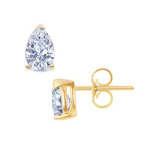 2 Carat Pear Cut Diamond Stud Earrings Yellow Gold Pushback Stud Earrings