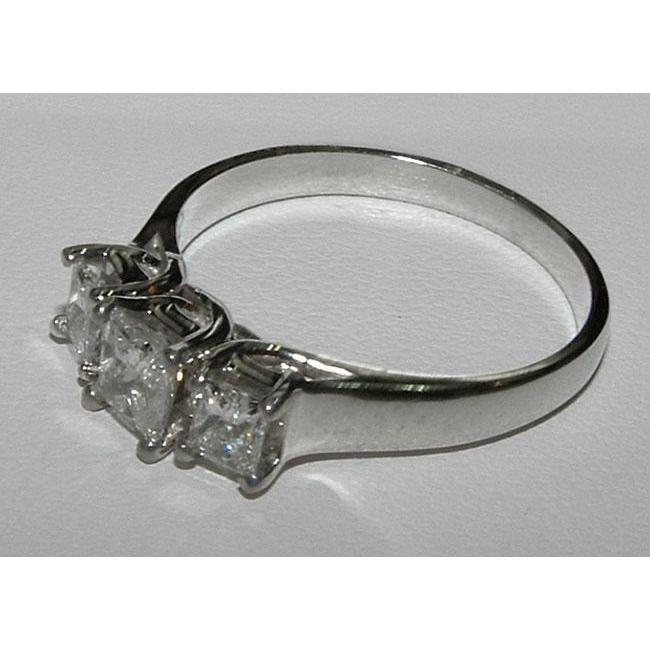 2 Carat Princess Cut Platinum Diamond Engagement Ring Three Stone Three Stone Ring