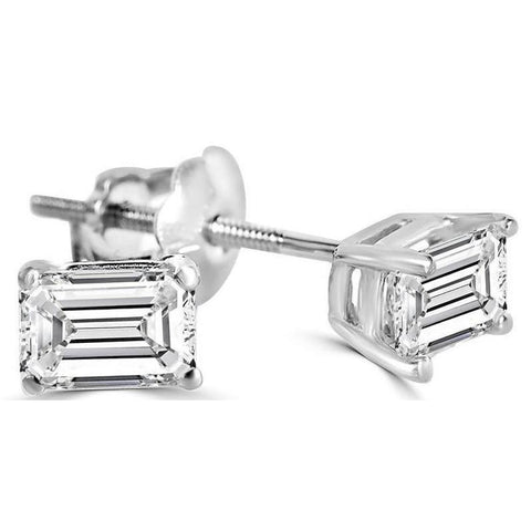 2 Carat Solitaire Emerald Cut Diamond Stud Earring White Gold Stud Earrings