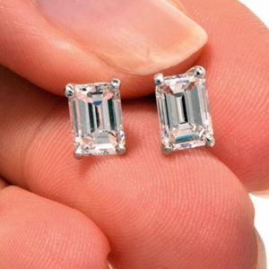 2 Carats 14K White Gold Emerald Cut Solitaire Diamond Stud Earring Stud Earrings