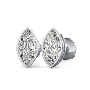 2 Carats Bezel Set Marquise Cut Stud Diamond Women Gold Earring Stud Earrings