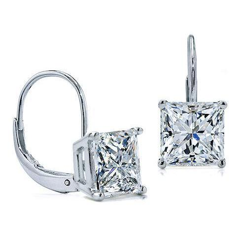 2 Carats D Vvs1 Princess Cut Diamond Earrings Leverback Eurowire 14K White Gold Leverback Earrings