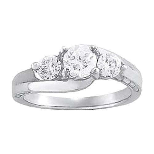 2 Carats Diamond Engagement Ring SI1 White Gold 14K Three Stone Ring