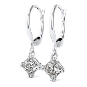 2 Carats E Vvs1 Princess Cut Diamond Earrings Leverback Eurowire 14K White Gold Leverback Earrings