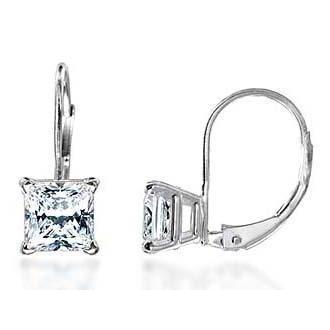 2 Carats F Vs1 Princess Cut Diamond Earrings Leverback Eurowire 14K White Gold Leverback Earrings