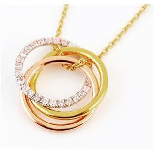 2 Carats Floating Multi Tone And Round Cut Diamond Gold Pendant Pendant