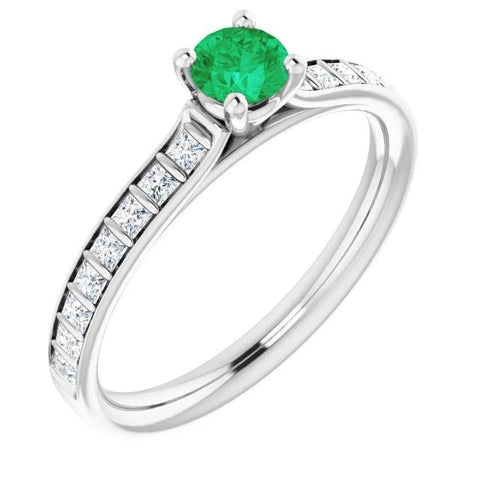 2 Carats Four Prong Green Emerald Ring White Gold 14K Gemstone Ring