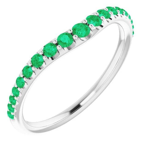 2 Carats Green Emerald Round Band F Vs1 White Gold 14K Gemstone Ring