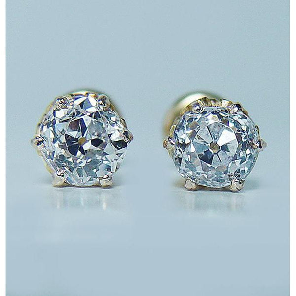 2 Carats Old Miner Round Diamond Stud Women Earring Yellow Gold Stud Earrings
