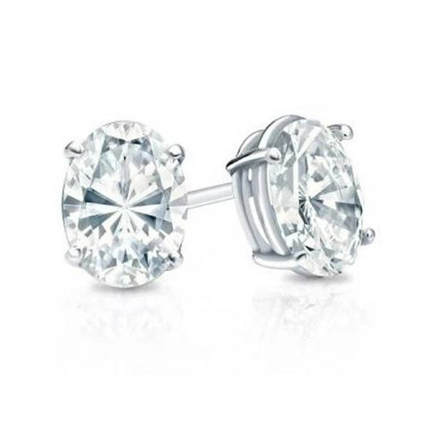 2 Carats Oval Cut Diamond Studs Earring White Gold 14K Stud Earrings
