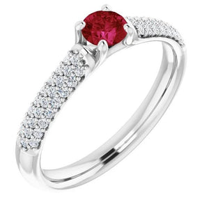 2 Carats Pave Diamond Ruby Ring White Gold 14K Gemstone Ring