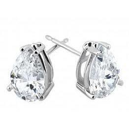 2 Carats Pear Cut Diamond Stud Women Earring Solid Gold 14K Stud Earrings