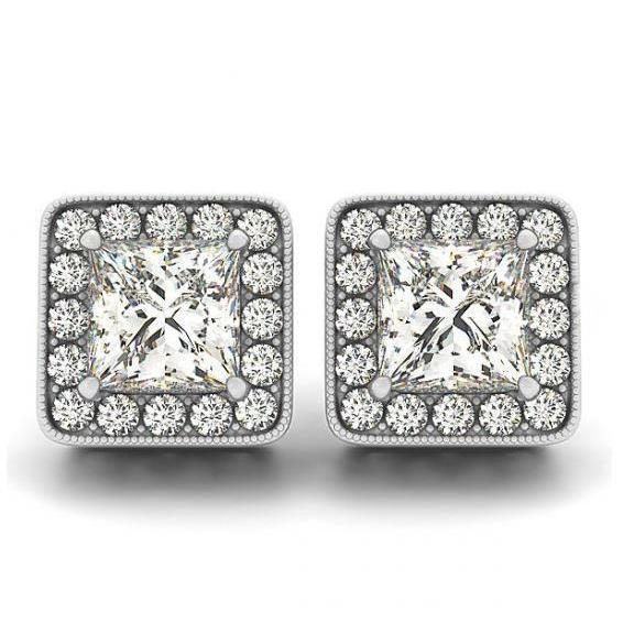 2 Carats Princess & Round Diamonds Halo Studs Earrings White Gold 14K Halo Stud Earrings
