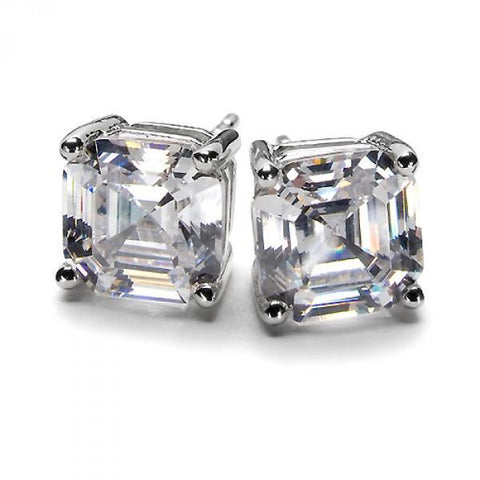 2 Carats Prong Set Asscher Cut Diamond Stud Earring 14K White Gold Stud Earrings