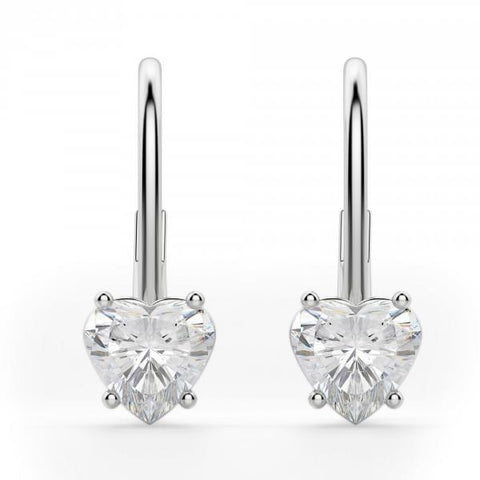 2 Carats Prong Set Heart Cut Diamond Women Earring Gold Jewelry Drop Earrings