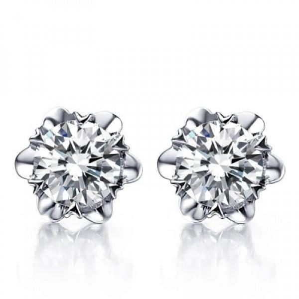 2 Carats Prong Set Round Flower Shape Diamond Stud Earring Gold 14K Stud Earrings
