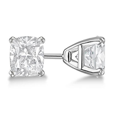 2 Carats Prong Setting Cushion Cut Diamond Stud Earring White Gold Stud Earrings