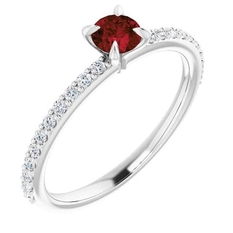 2 Carats Ring Ruby Stone White Gold 14K Gemstone Ring