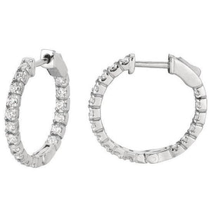 2 Carats Round Brilliant Diamond White Gold Hoop Pair Women Earring Hoop Earrings