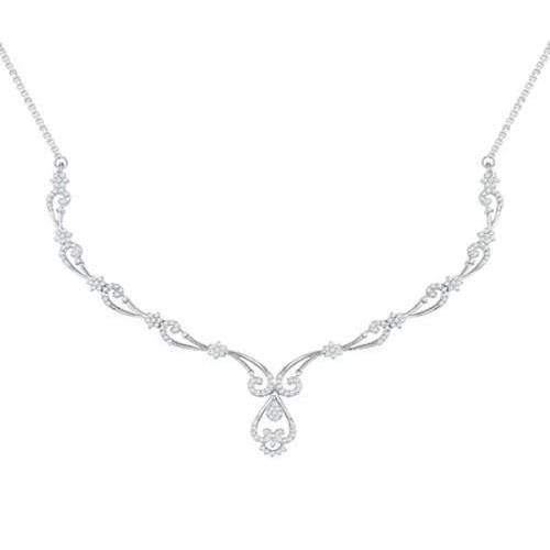 2 Carats  Round Cut Diamond Women Necklace Fine Gold Jewelry Necklace