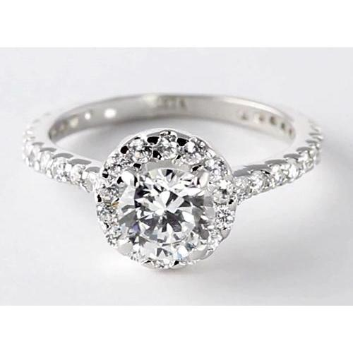 2 Carats Round Diamond Halo Setting Engagement Ring Jewelry Halo Ring