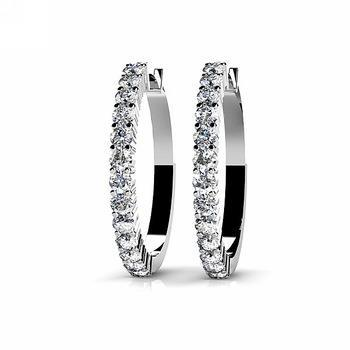 2 Carats Round Diamond Hoop Ladies Earring 14K White Gold Hoop Earrings