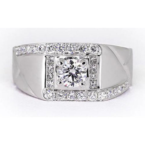 2 Carats Round Diamond Mens' Anniversary Ring White Gold 14K Jewelry Mens Ring