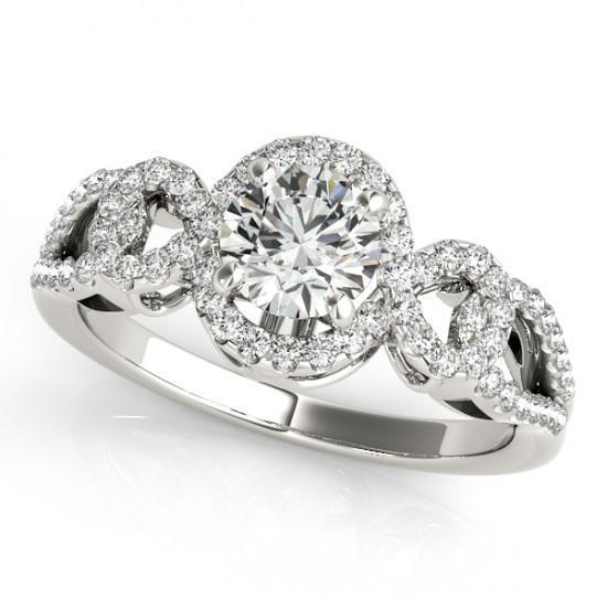 2 Carats Round Diamonds Engagement Anniversary Antique Style Ring White Gold 14K Anniversary Ring