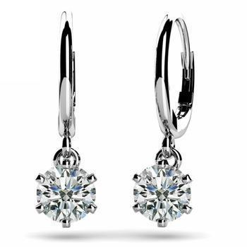 2 Carats Round G-Vs2 Diamond Leverback Earring Pair White Gold 14K Leverback Earrings